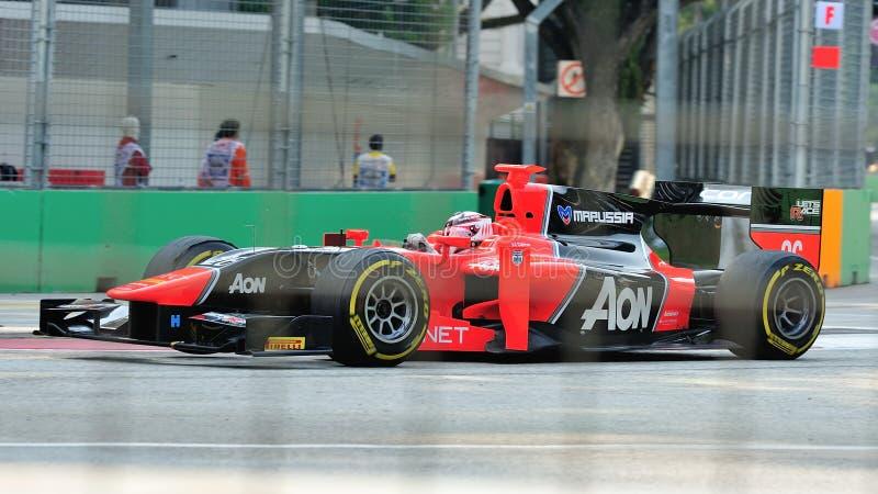 Chilton máximo que compete em Singapore GP2 2012 imagens de stock