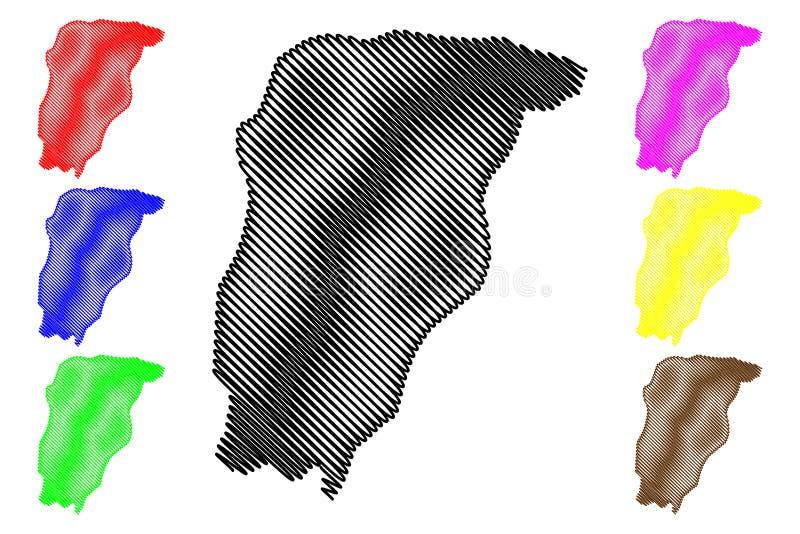 Chimaltenango-Abteilung Republik Guatemala, Abteilungen der Guatemala-Kartenvektorillustration, Gekritzelskizze Chimaltenango stock abbildung