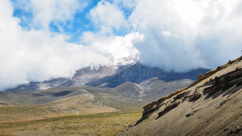 Chimborazo, a currently inactive stratovolcano in the Cordillera of the Ecuadorian Andes. Chimborazo is a currently inactive stratovolcano in the Cordillera stock photography
