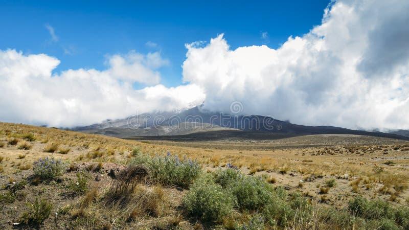 Chimborazo, a currently inactive stratovolcano in the Cordillera of the Ecuadorian Andes. Chimborazo is a currently inactive stratovolcano in the Cordillera stock image