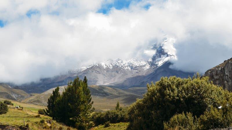 Chimborazo, a currently inactive stratovolcano in the Cordillera of the Ecuadorian Andes. Chimborazo is a currently inactive stratovolcano in the Cordillera stock photo