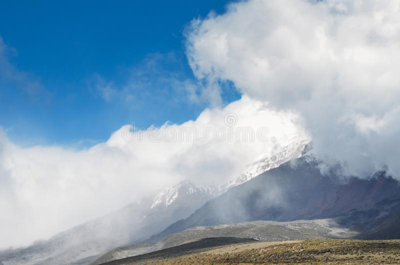 Chimborazo, a currently inactive stratovolcano in the Cordillera of the Ecuadorian Andes. Chimborazo is a currently inactive stratovolcano in the Cordillera royalty free stock images