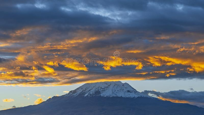 Chimborazo Volcano at Sunset, Ecuador stock images