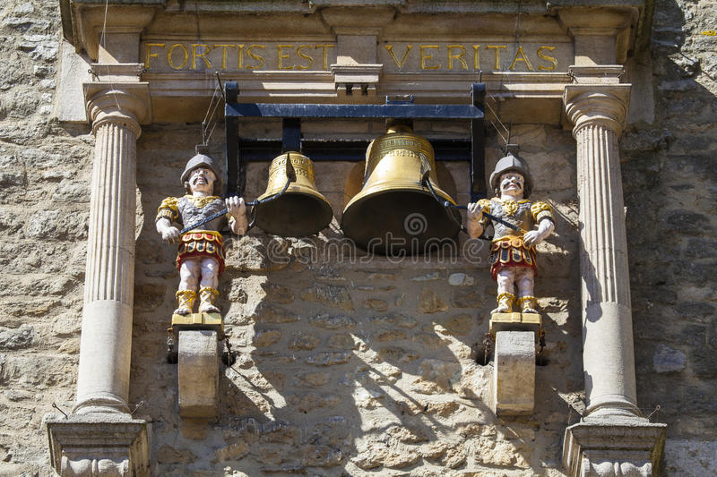 Chime of Carfax Tower in Oxford. The clock and chiming quarter boys of St. Martins Tower, popularly known as Carfax Tower in Oxford, England royalty free stock image