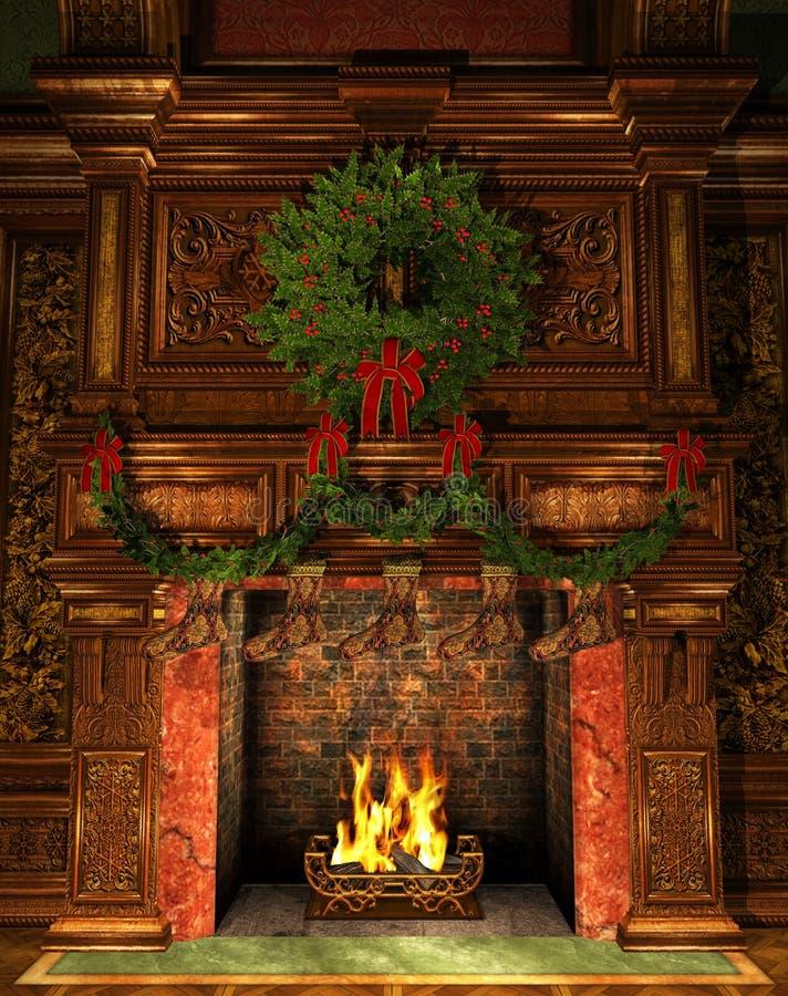 Chimenea adornada para la Navidad stock de ilustración