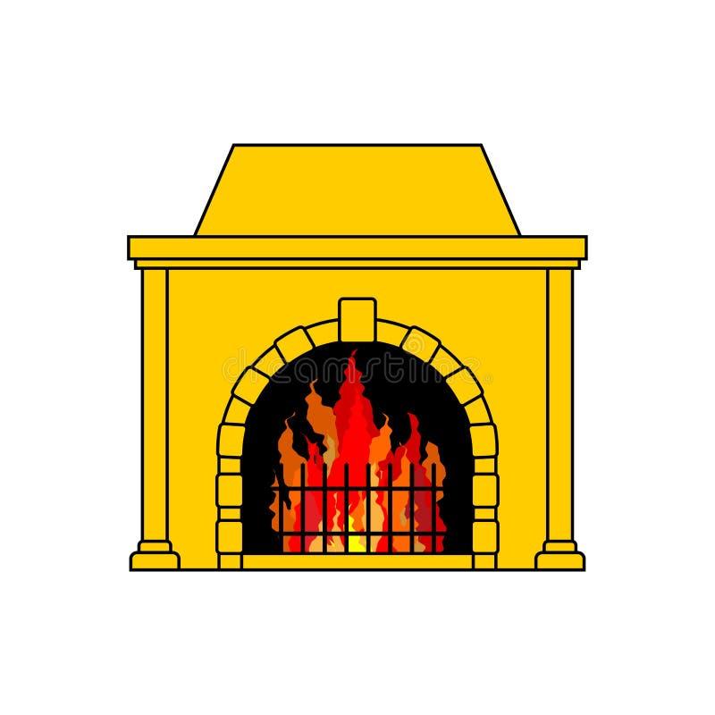 Chimenea aislada Calentado en casa El fuego Vector Illustratio stock de ilustración