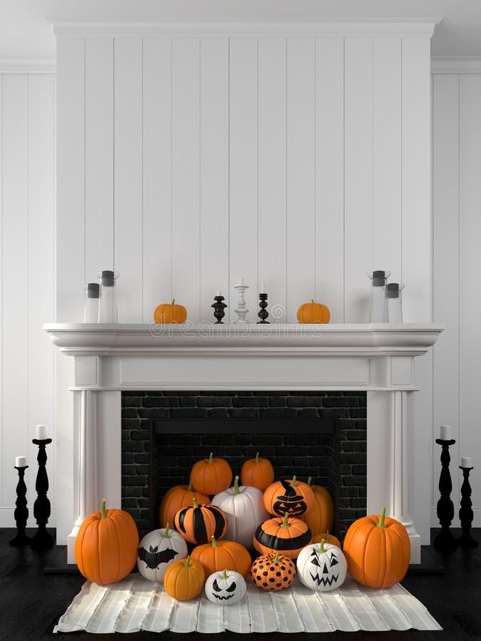 Chimenea blanca adornada con las calabazas para Halloween foto de archivo