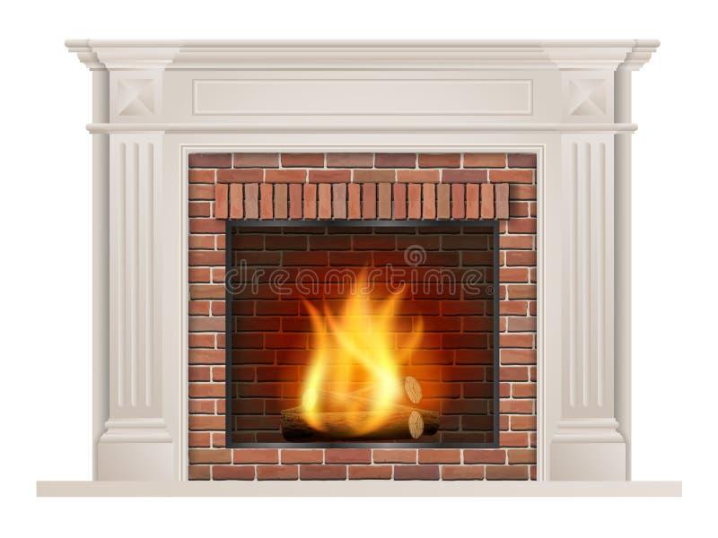 Chimenea clásica con el ladrillo rojo y el horno ilustración del vector