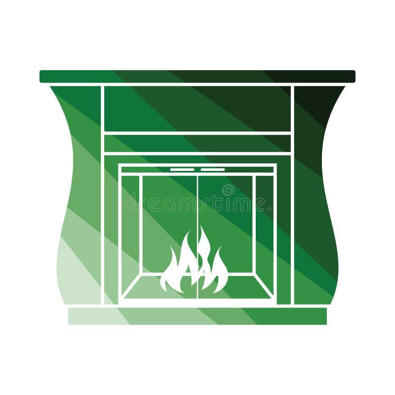 Chimenea con el icono de las puertas ilustración del vector
