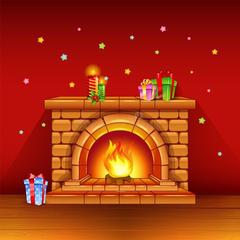 Chimenea con las velas y los regalos en fondo rojo libre illustration