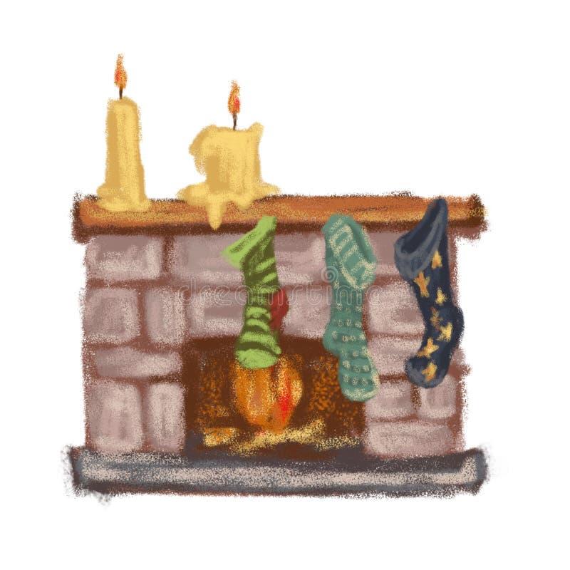 Chimenea con los calcetines y las velas que esperan Papá Noel Rueda dentada stock de ilustración