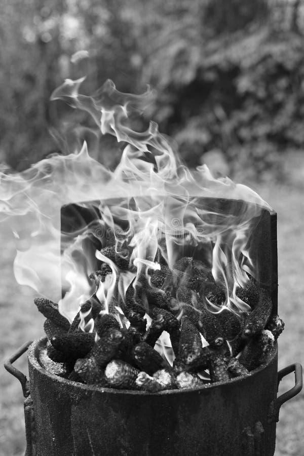 Chimenea de la barbacoa blanco y negro fotos de archivo libres de regalías