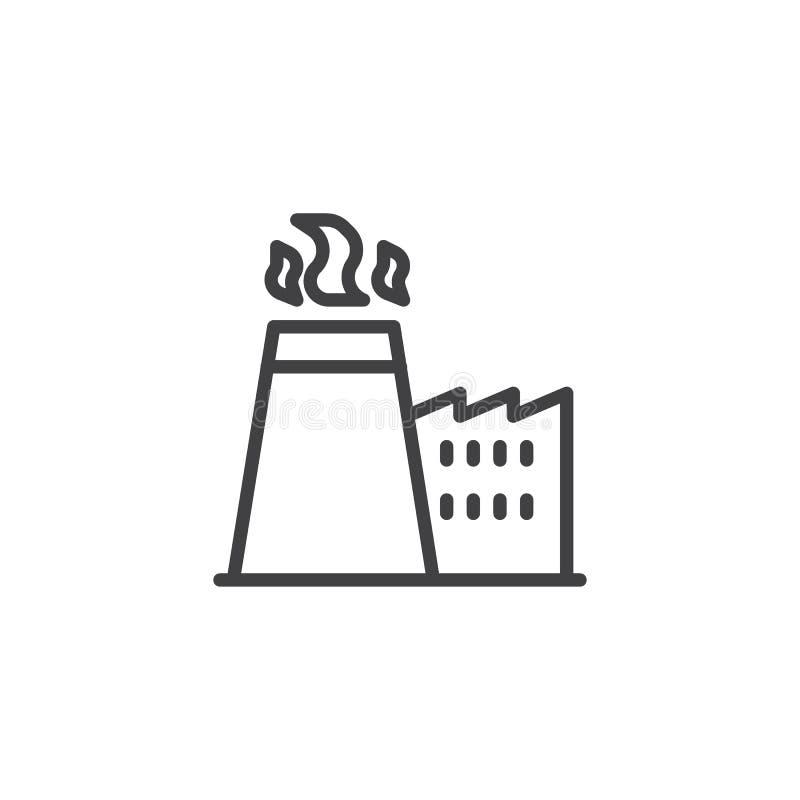 Chimenea de la fábrica con la línea icono del humo libre illustration