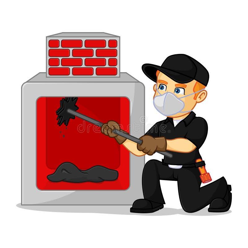 Chimenea de la limpieza del barrendero de la chimenea libre illustration