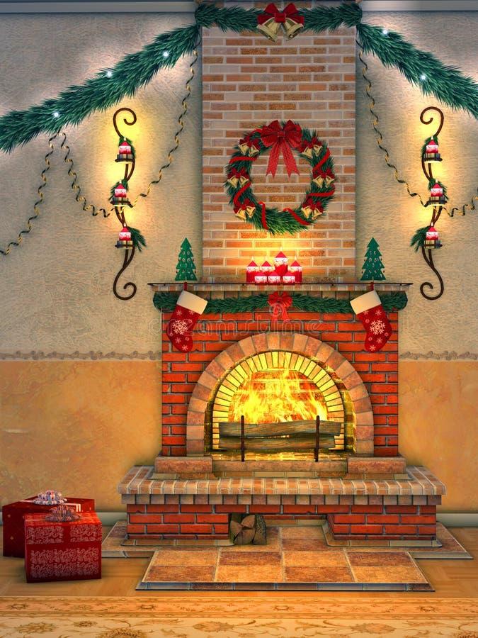 Chimenea de la Navidad ilustración del vector