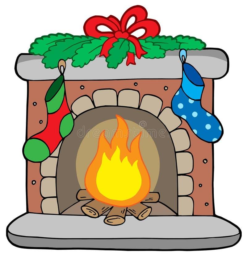 Chimenea de la Navidad con las medias stock de ilustración