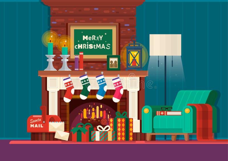 Chimenea de la Navidad Diseño interior de la chimenea del sitio con la butaca, lámpara Regalos y chimenea Vector plano del estilo stock de ilustración