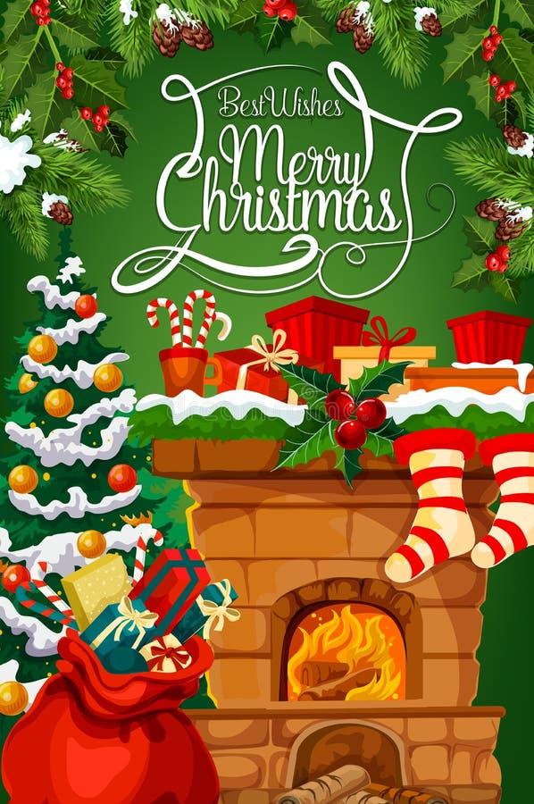 Chimenea de la Navidad, tarjeta de felicitación de la media del regalo ilustración del vector