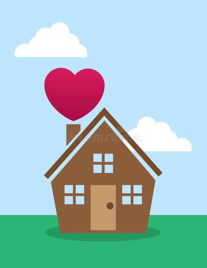 Chimenea del corazón de la casa stock de ilustración
