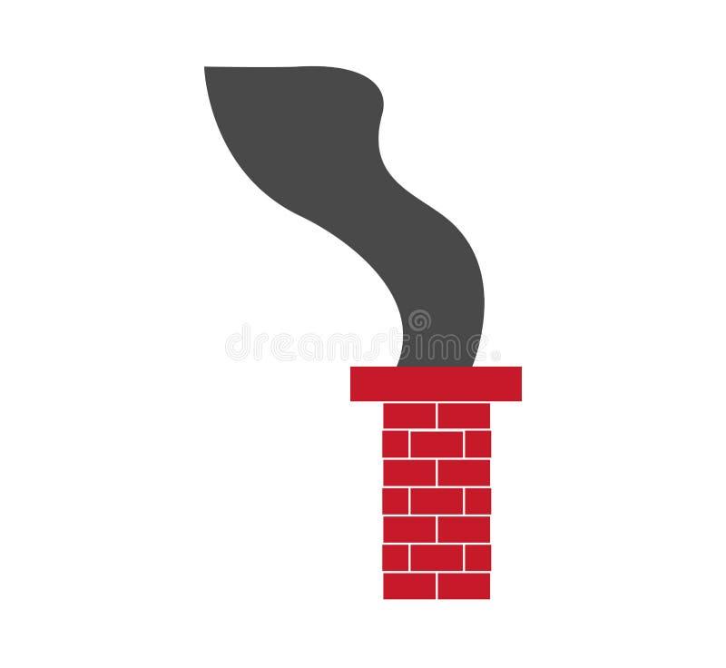 Chimenea del ladrillo rojo en el fondo blanco libre illustration