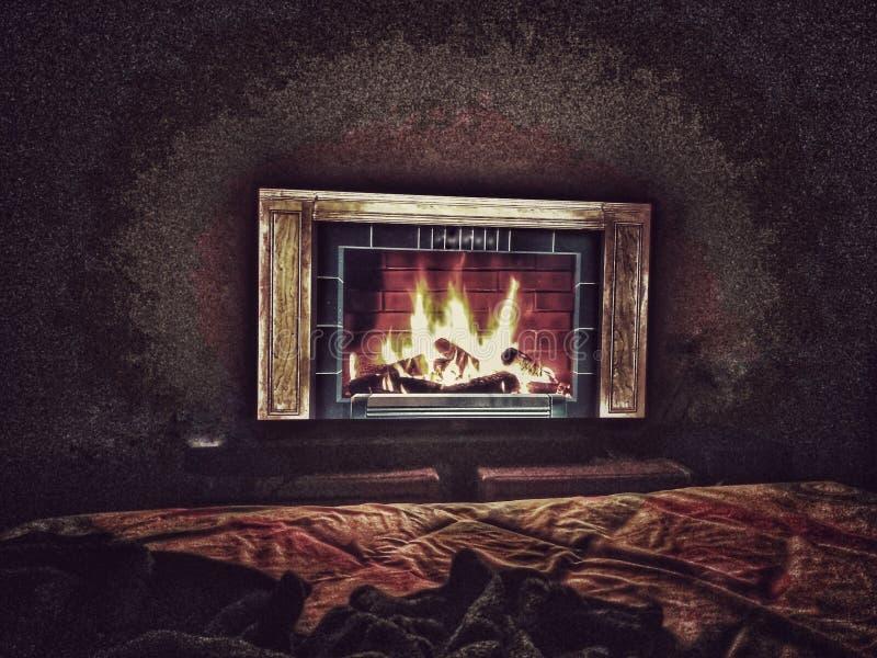 Chimenea interior calentar para arriba imagen de archivo