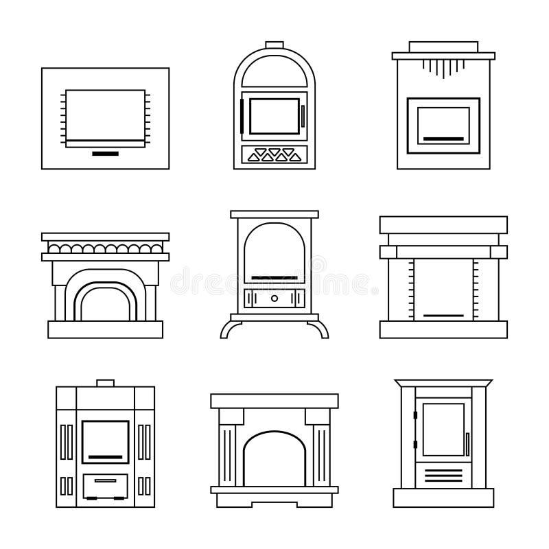 Chimenea plana de los iconos, estufas aisladas en el fondo blanco Ilustración del vector stock de ilustración