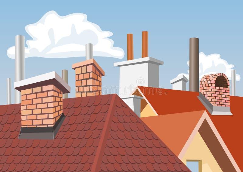 Chimeneas en las azoteas de casas stock de ilustración