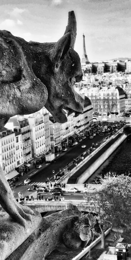 Chimera (Gargoyle) of the Cathedral of Notre Dame de Paris overl stock photography