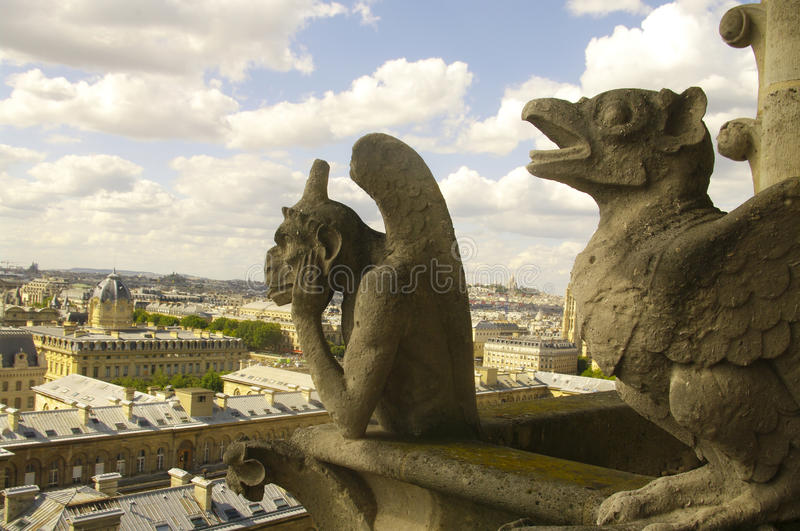 Chimera from Notre Dame Cathedral stock photo