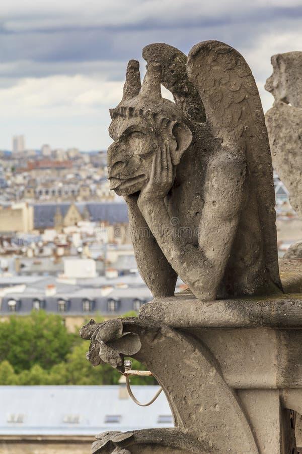 Chimera of Notre Dame de Paris royalty free stock photos