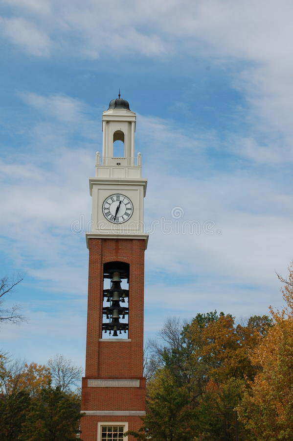 Chimes at Cook Field Miami University. 12:30 at Chimes at Cook Field Miami University; historic bell tower for secret societies, poetry readings, etc. Hope royalty free stock images