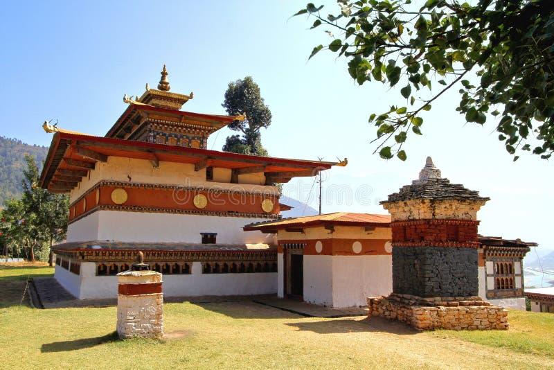 Chimi Lakhang ή ναός Lhakhang κτύπων, περιοχή Punakha, Μπουτάν στοκ εικόνες με δικαίωμα ελεύθερης χρήσης