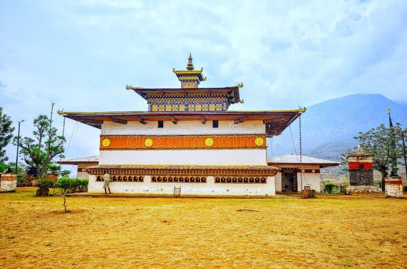 Chimi Lhakhang è noto a tutti come 'Tempio di Fertilità' , Punakha , Bhutan fotografia stock libera da diritti