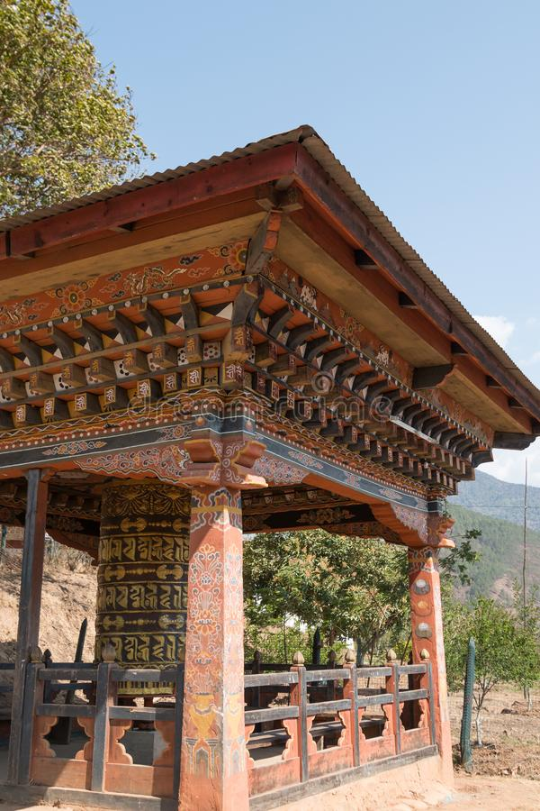 Chimi Lhakhang, the Fertility Temple, a Buddhist monastery in Punakha, Bhutan. The temple is a popular tourist destination and a visit is included on most royalty free stock photo