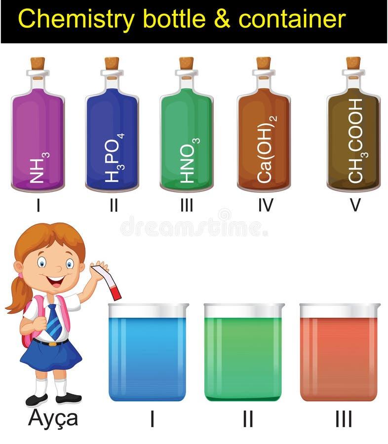 Chimica - bottiglie e contenitori illustrazione di stock