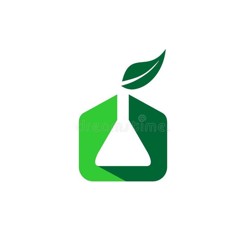 Chimica organica con l'icona di logo di simbolo della foglia e del prodotto chimico royalty illustrazione gratis