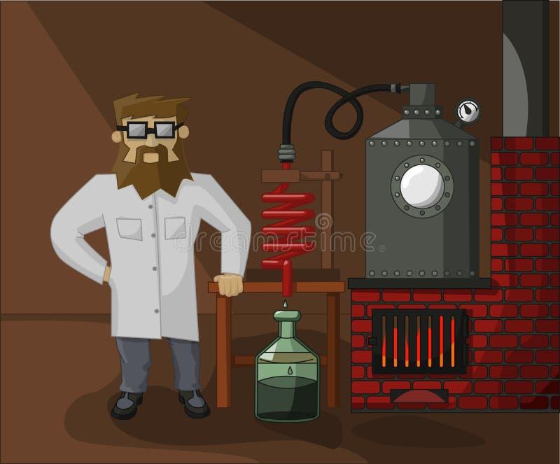 Chimico barbuto in laboratorio i precedenti illustrazione di stock