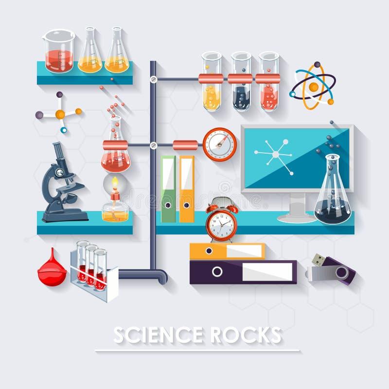 Chimie et science infographic Laboratoire Fond d'icônes de chimie pour des affiches de biologie et de recherches médicales illustration libre de droits