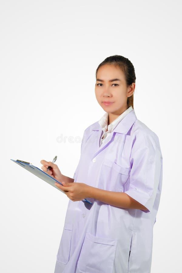 Chimiste de pharmacien et Asiatique de femme de médecin avec le stethosco photographie stock