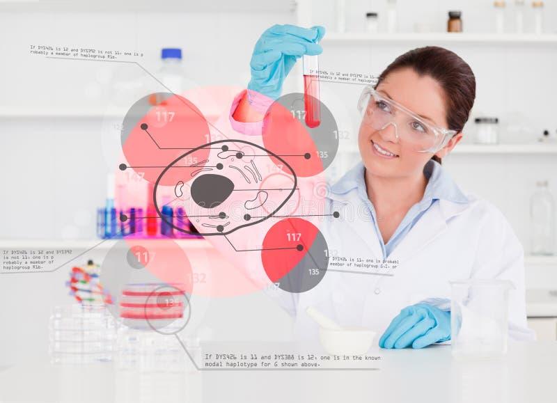 Chimiste de sourire regardant le tube à essai du produit chimique rouge photos stock
