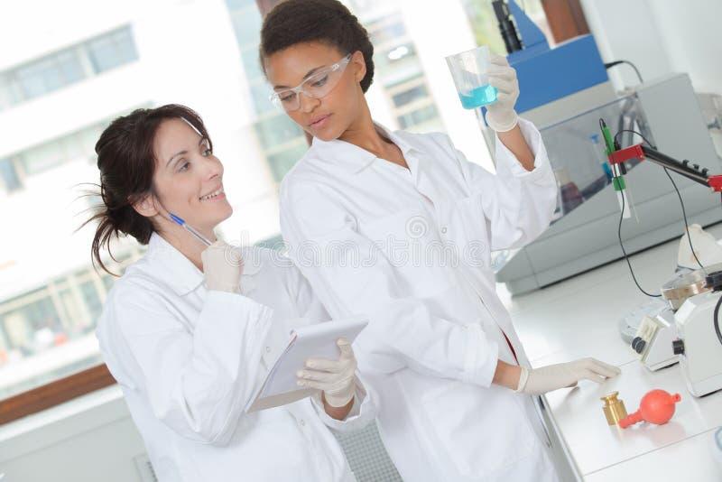 Chimiste deux discutant quelle meilleure solution chimique photographie stock