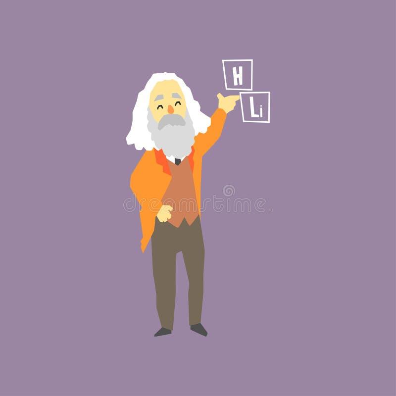 Chimiste russe célèbre - Dmitri Mendeleev Inventeur de la table des éléments périodique Caractère aux cheveux gris de sourire d'h illustration de vecteur
