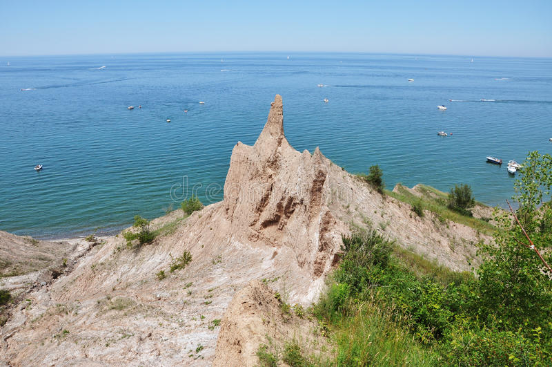 Chimney Bluffs near Great Sodus Bay, New York. Chimney Bluffs State Park on Lake Ontario near Great Sodus Bay, New York State, USA stock images