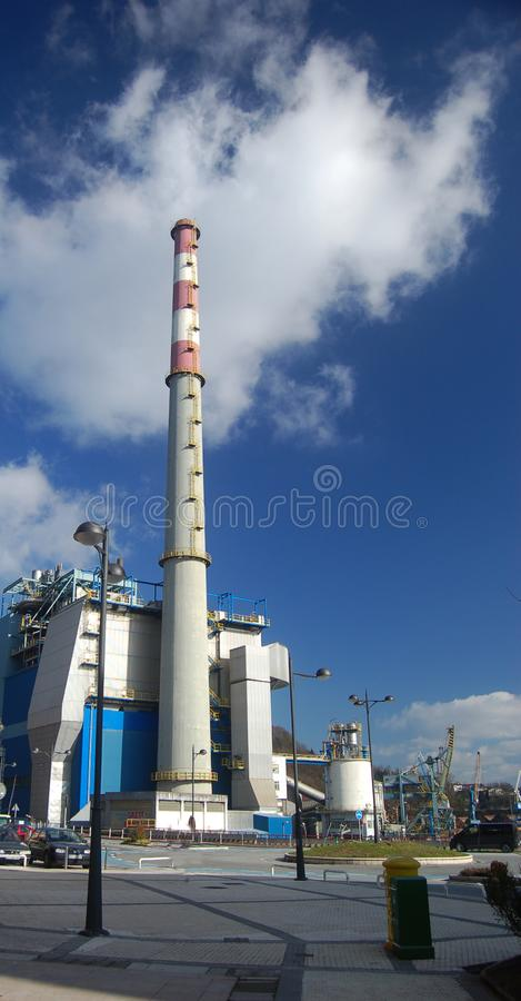 Chimney of a factory stock photography
