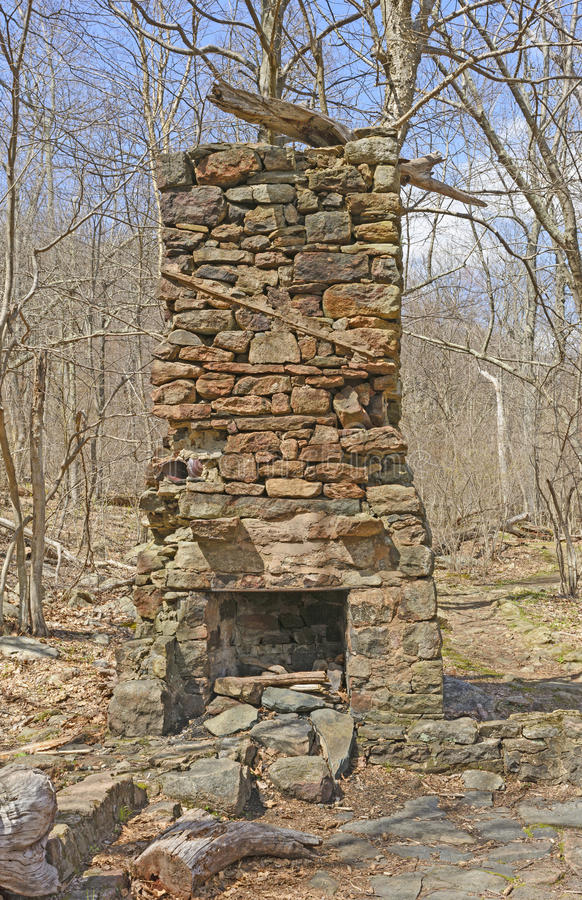Free Chimney From A Ruined Cabin In The Wilderness Stock Photography - 54607612