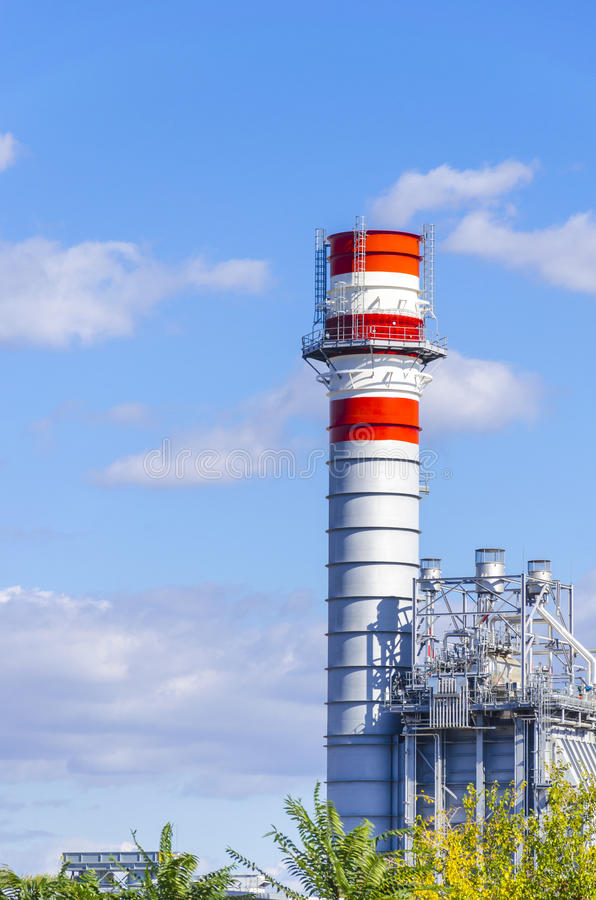 Chimney from gas electricity power plant factory. Red and white Chimney detail from gas electricity power plant factory royalty free stock photos