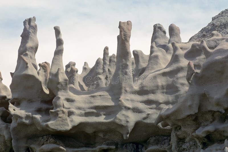 Chimney like rock formations in Fantasy Canyon, Utah royalty free stock photos
