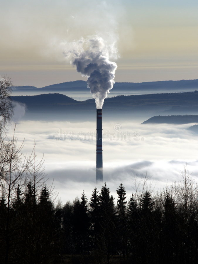 Chimney pollution. Chimney pollution in Czech republic stock photos