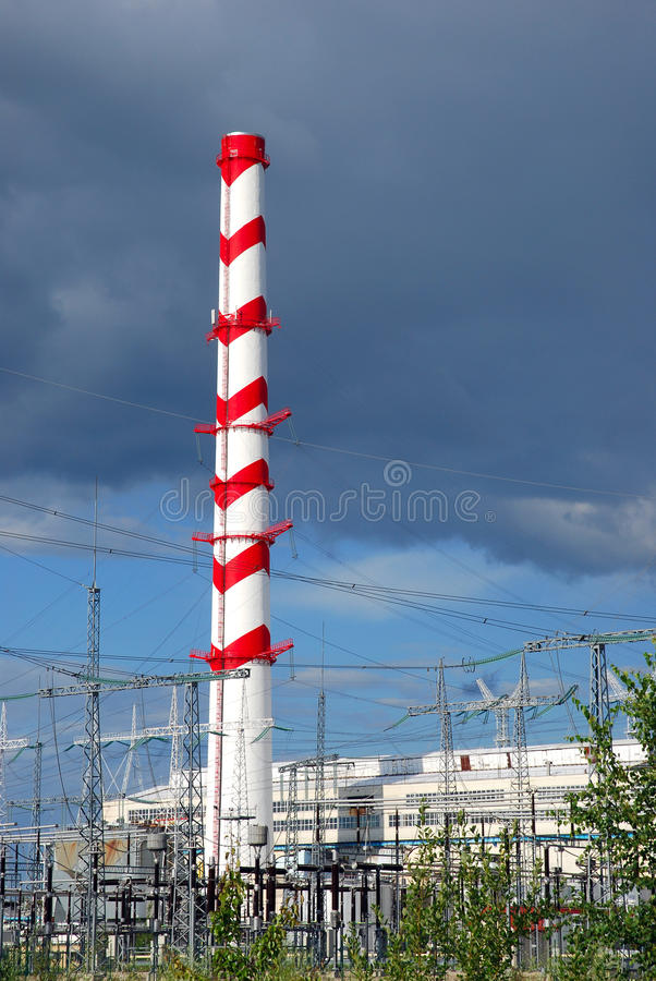 Chimney Of Power Plant Stock Image
