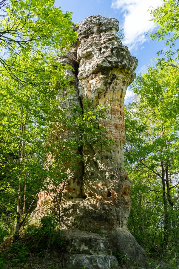 Chimney Rock in Hastings Minnesota is a 30-foot-tall sandstone rock pillar located in Dakota County.  stock images
